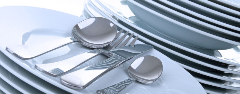 Clean dishes, glasses and silverware